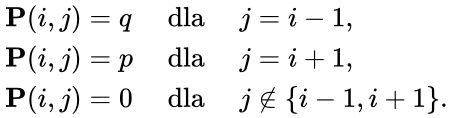 {\displaystyle \displaystyle {\begin{array}{lll}{\mathbf {P} }(i,j)=q&{\mbox{ dla }}&j=i-1,\\{\mathbf {P} }(i,j)=p&{\mbox{ dla }}&j=i+1,\\{\mathbf {P} }(i,j)=0&{\mbox{ dla }}&j\notin \{i-1,i+1\}.\end{array}}}