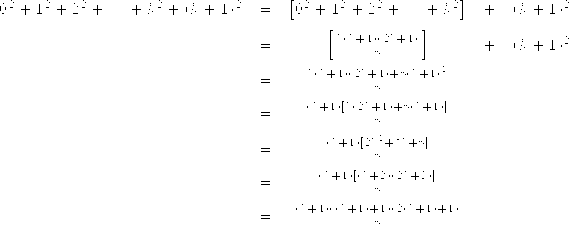 \begin{array} {rcccl} 0^2+1^2+2^2+ \cdots + k^2 + (k+1)^2  &=& \left[0^2+1^2+2^2+ \cdots + k^2\right] &+& (k+1)^2 \\[1,5ex] &=& \left[\frac{k(k+1)(2k+1)}{6}\right] &+& (k+1)^2 \\[1,5ex]&=&\frac{k(k+1)(2k+1)+6(k+1)^2}{6}  \\[1,5ex] &=&\frac{(k+1)[k(2k+1)+6(k+1)]}{6}  \\[1,5ex] &=&\frac{(k+1)[2k^2+7k+6]}{6}  \\[1,5ex] &=&\frac{(k+1)[(k+2)(2k+3)]}{6}  \\[1,5ex] &=&\frac{(k+1)((k+1)+1)(2(k+1)+1)}{6}&& \end{array}